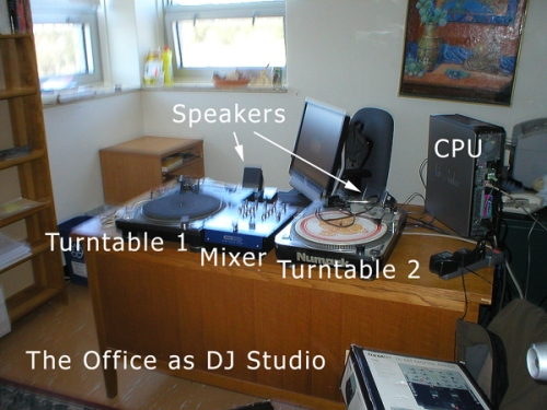 University office as ad-hoc DJ studio