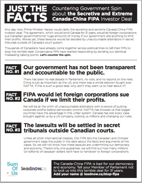 Open Letter To Canada Trade Agreement Secretariat About The Fipa