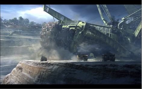 Bucketwheel excavator.  Still frame (at runtime 00:04:07) from Avatar (2009).